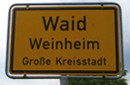 Town sign of 'Waid' [Woad] in 'Weinheim'